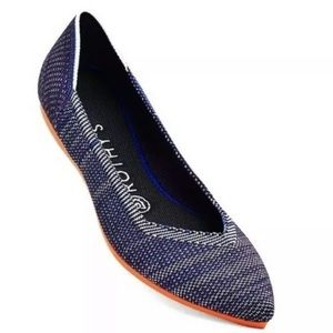 Rothy's Birdseye Bright Blue Point Toe Flats 8.5